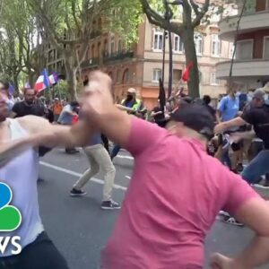 Covid-19 Health Pass Protest Attacked By Men With Sticks in France